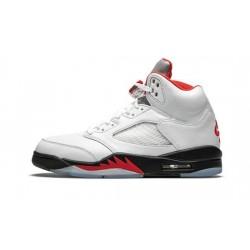 "Mens Air Jordan 5 Fire Red ""True White/Fire Red-Black"""