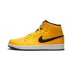 Mens Air Jordan 1 Mid Taxi Yellow University Gold/Black-White