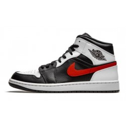 """Mens Air Jordan 1 Mid """"Chile Red""""Black/Chile Red-White"""