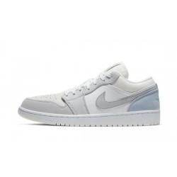 Mens Air Jordan 1 Low Paris White/Sky Grey-Football Grey