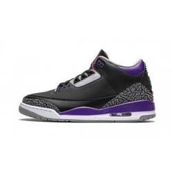 """Mens Air Jordan 3 Court Purple Black Cement """"Black/Cement Grey-White-Court"""""""