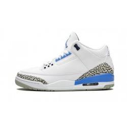 Mens Air Jordan 3 UNC (2020) White/Valor Blue-Tech Gray