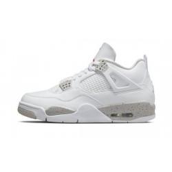 "Mens Air Jordan 4 ""White Oreo""White/Tech Grey-Black-Fire Red"