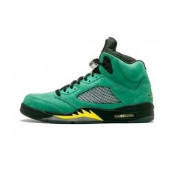 Mens Air Jordan 5 Oregon Ducks Black/Yellow Strike-Ap Green